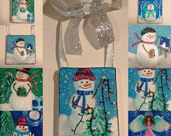 Christmas Ornaments, Hand Painted Ornaments, Tree Decor, Holiday Decor, Christmas Decor, Snowmen, Gifts