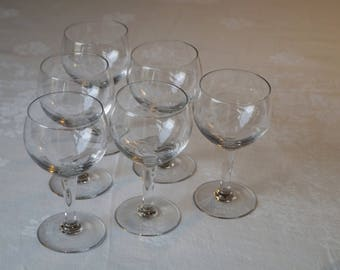 Glass balls, vintage, tableware, etched glass.