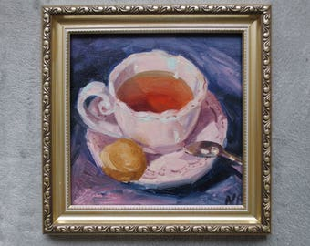 Original oil painting Pink Tea cup; cheap painting; cheap home decor; cheap wall decor/original artwork/inexpensive art/affordable wall art;