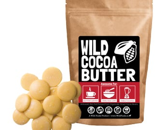 Raw Cocoa Butter by Wild Foods, Fair Trade, Organically Grown, Unrefined, Non-Deodorized, Food Grade Wafers
