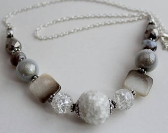 WHITE STATEMENT NECKLACE,White Ice Chips Bead Crystals Pearls Teardrops Necklace,Handmade, Chain Necklace,  Statement Necklace, Made For Her