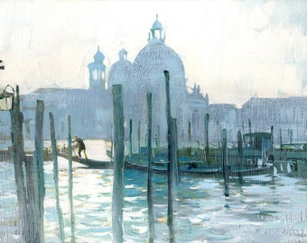 Gray art Gray paintings Gray landscape Gray paint Gray oil Gray canvas Gray architecture Gray water Gondola Venice Venice sky Venice day