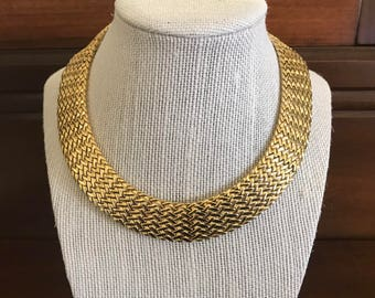 Vintage Gold Collar Articulated Necklace. signed VIRO. Wide Choker Necklace With Chevron Design. Unique Classic Jewelry. Valentines Day Gift