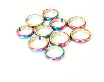 Hematite Rainbow Rings