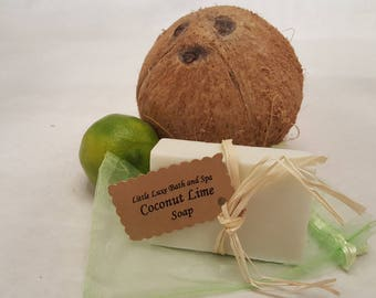 Coconut Lime Soap - Handmade, Bridal Party Favor, Gift for Her, Natural, Bath and Body Gift, Bath Favor, Scented Soap