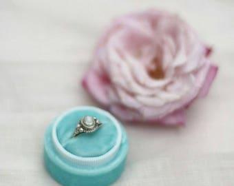 Blue Velvet Ring Box, Vintage Ring Box, Ring Box, Wedding Gift