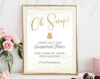Oh Snap Wedding Hashtag Sign Snapchat Filter, Oh Snap Wedding Sign for Geofilter, Oh Snap Custom Hashtag Sign Printable, Hashtag Print