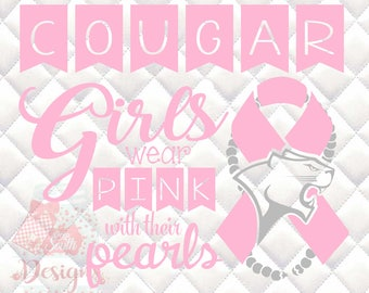 Cougar Mascot Pink and Pearls - Breast Cancer Awareness - SVG, Silhouette studio and png bundle