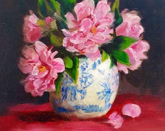 """Daily Painting -"""" Ginger Jar with Camellias"""" Netty Kozlovsky, Still Life, Original Oil Painting,"""