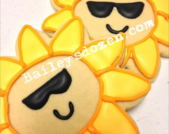 Sunflower with shades | Custom Decorated Sugar Cookies | sunglasses