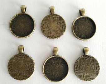 6pcs 25mm Inner Size Antique Bronze Round Cameo Cabochon Base Setting Charms Pendant
