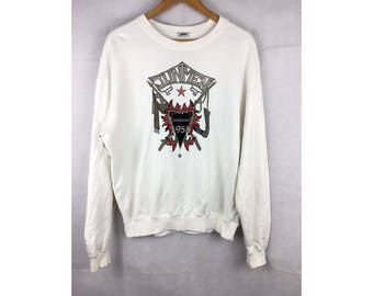 JUNMEN Vintage Sweatshirt Long Sleeve Sweatshirt Pull Over Medium Size with Big Embroidered Logo