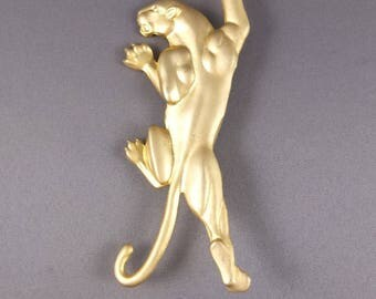 Vintage Panther Brooch For Repair Or Repurpose - Large 1980s Matte Gold Tone Panther, Costume Jewellery
