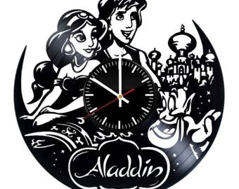 Aladdin Walt Disney Vinyl Wall Clock Handmade Wall Art Room Decor Party Supplies Decoration Theme Birthday Gift For Adults Kids Vintage