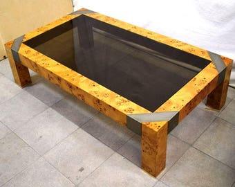 Burl U0026 Brass Coffee Table Willy Rizzo Style