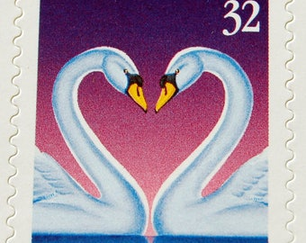 1997 LOVE Stamp, 2 Swans, head-to-head in the shape of a Heart!