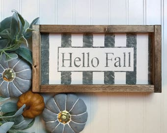 Hello Fall Framed Wood Sign