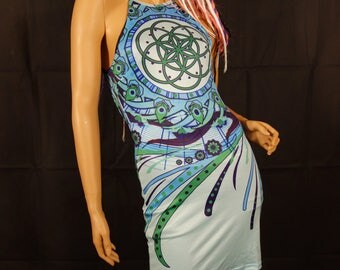 Psychedelic Clothing Womens Dresses Womens Clothing Festival Dress Sacred Geometry Techno Clothing Festival Clothing Psychedelic Dress