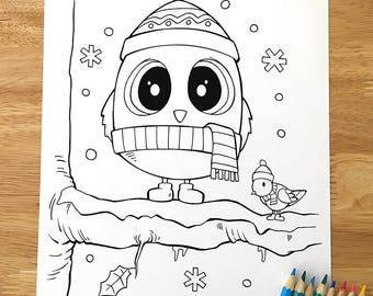 Christmas Owl Coloring Page Downloadable PDF File