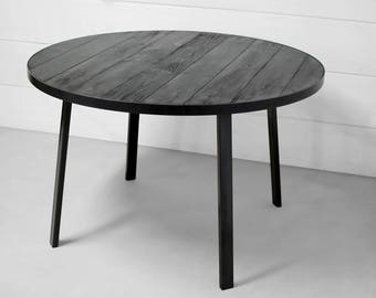 Industrial Round Wood Dining Table, Industrial Round Dining Table, Round  Wood Table, Rustic
