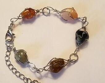 Crystal Bracelet Stone Silver Bracelet Wire Wrapped Bracelet Multi Color Bracelet