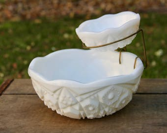Milk Glass Bowl  - Milk Glass Dip Bowl - Press Cut Milk Glass - Pres Cut Bowl - Milk Glass Chip & Dip - Chip and Dip Bowl - Vintage McKee