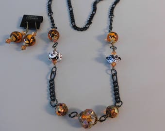 Lampwork Beaded Necklace and Earrings