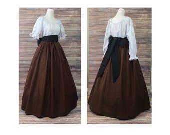 Size L Large - Complete Outfit - Skirt, Blouse and Sash-Renaissance Civil War Victorian Southern Belle LARP Medieval Pioneer Dress Costume