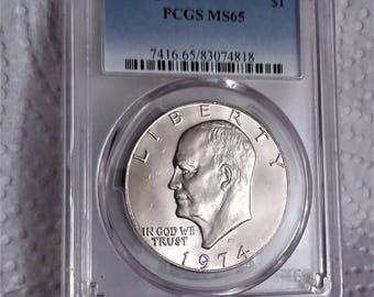 1974D Ike Dollar...PCGS MS 65..super clean--looks like a silver 1974S Ike