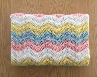 Pink, Blue, Yellow and White Chevron Baby Blanket/ Crochet Baby Blanket/ Baby Girl Blanket/ Pink Crochet Blanket/ Pink Ripple Baby Blanket