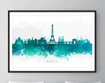 Paris Skyline, Paris France Cityscape Art Print, Wall Art, Watercolor, Watercolour Art Decor
