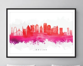 Dallas Skyline, Dallas Texas Cityscape Art Print, Wall Art, Red Watercolor, Watercolour Art Decor