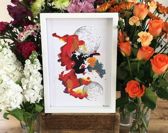 ColourSplash 4, A4 Art Print on 100% Recycled Card, Hand Painted