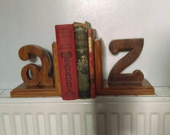 Vintage wooden letter A to Z bookends book ends