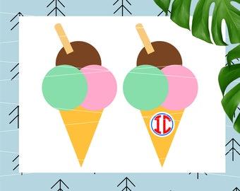 Ice Cream svg summer svg slushie svg popsicle svg snow cone svg monograms svg for Cricut Silhouette vector cut files svg dxf eps png lfvs