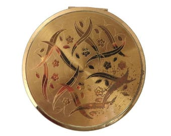Vintage Elgin American Compact - 1940s Gold Tone Compact, Round Makeup Collectors Compact