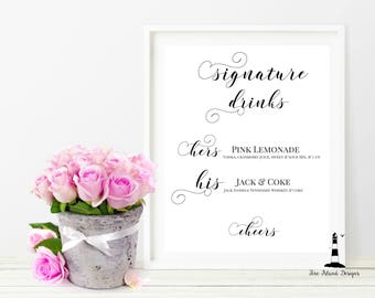 Signature Drinks Wedding Printable, Signature Drinks Wedding Sign, Cheers Sign, Personalized Reception wedding Sign, Wedding Decor, Wedding