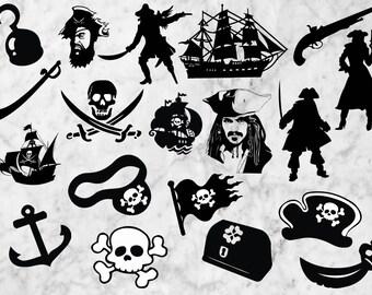 Pirates Svg Silhouette, Pirates Cut files, Clip art, t shir design, Pirate hat for cricut, pirates of the caribbean svg, ships dxf, pirate