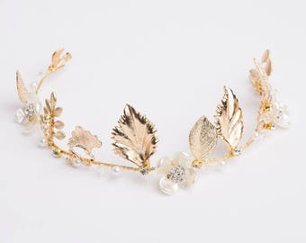 Bridal Headpiece, Gold Bridal Crown, Bridal Crown, Bridal Tiara, Gold Wedding Tiara, Gold Tiara, Wedding Headpiece, Gold Headpiece