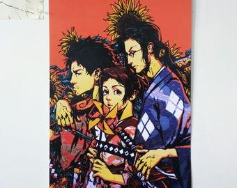 "Samurai Champloo poster - 12 x 18"", illustration, wall art, poster print, anime, art, fine art print, poster, swords, manga, jin, mugen, fuu"