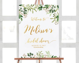 Bridal Shower Sign,  Bridal Shower Decorations, Bridal Shower Welcome Sign, Bridal Shower Poster, Greenery Bridal Shower Sign, Custom Design
