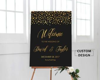 Gold Confetti Wedding Welcome Sign, Wedding Welcome Sign, Rustic Wedding Decor, Wedding Decoration, Bohemian Wedding Sign, Wedding Sign