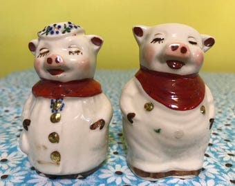 Antique Shawnee Pottery Pig Salt and Pepper Shakers-Smiley Pig and Winnie