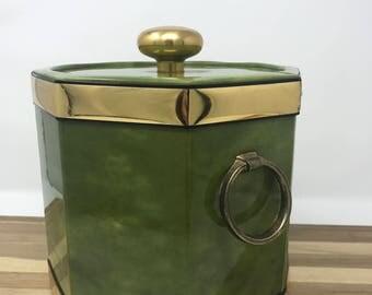 Green Marbleized Mid Century Vintage Kraftware Ice Bucket