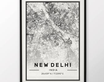 New Delhi City Map Print Modern Contemporary poster in sizes 50x70 fit for Ikea frame 19.5 x 27.5 All city available London, New York Paris