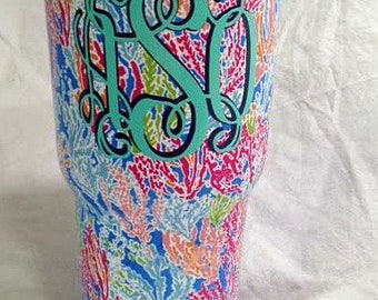 Lilly Pulitzer style 30 oz stainless steel sublimation tumblers, Monogram custom tumbler, Yeti style, slide lid, Lilly cup, Lilly blank