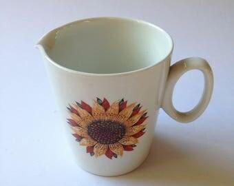 Ridgway Ironstone 'Sunburst' milk jug / creamer with bright sunflower design