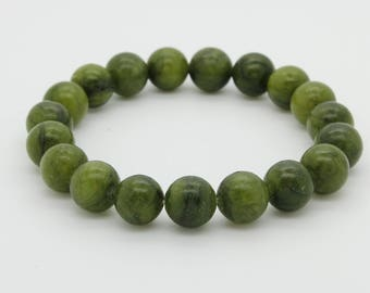 "New Jade Beads Size 10mm. Length 8"" Semi-Precious Gemstone Elastic Cord Bracelet Accessories"