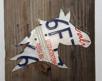 Horse Head made from License Plates