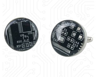 Black and Silver Circuit Board Cufflinks - Big and Bold Cufflinks Handmade w/ Recycled Technology - Silver Plated - Choose Round or Square